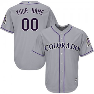 Men's Custom Colorado Rockies Authentic Grey ized Road Cool Base Jersey by Majestic