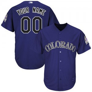 Men's Custom Colorado Rockies Replica Purple ized Alternate 1 Cool Base Jersey by Majestic